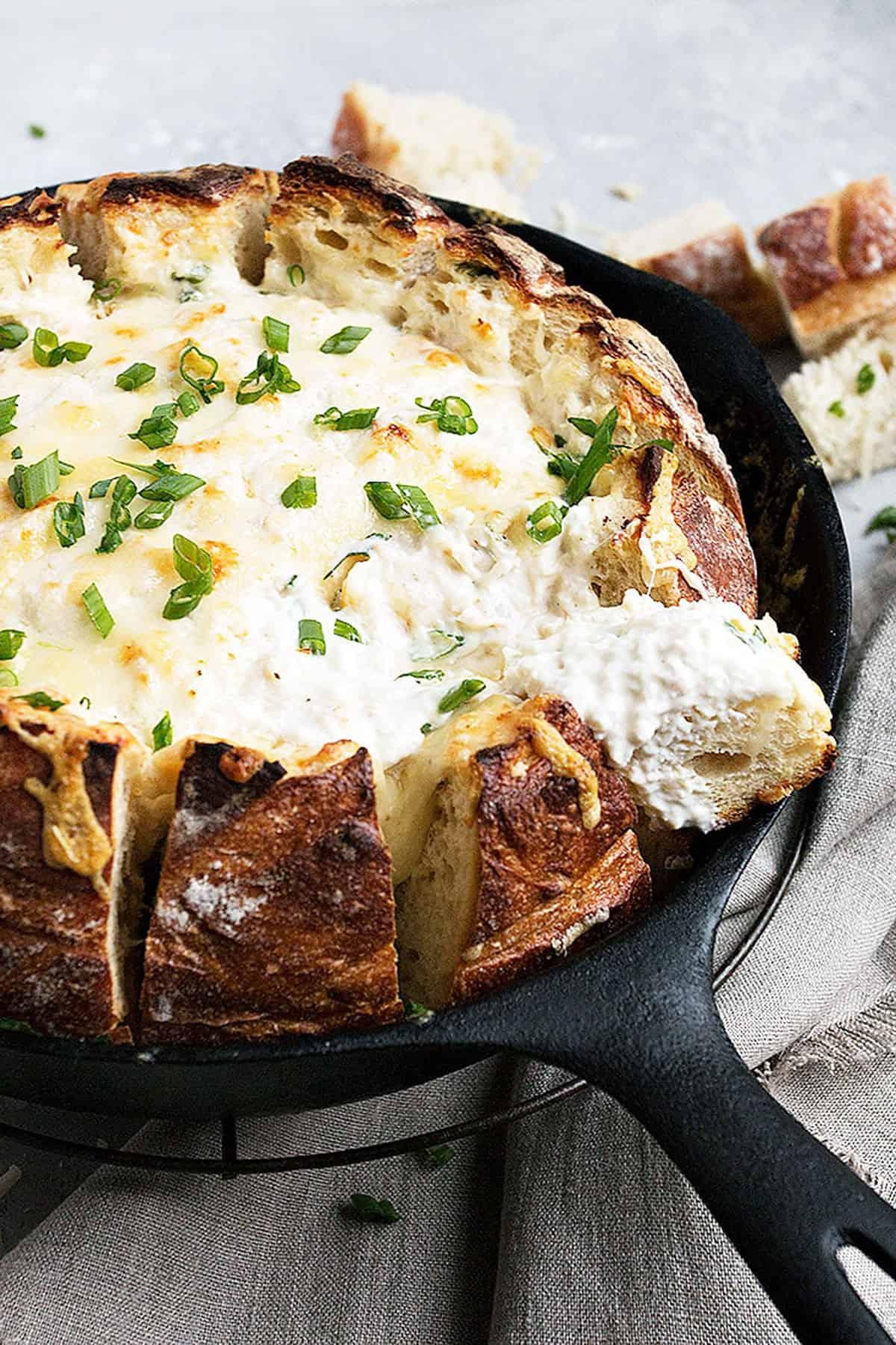crab dip in sourdough bread bowl