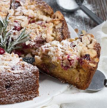 festive cranberry almond coffee cake sliced