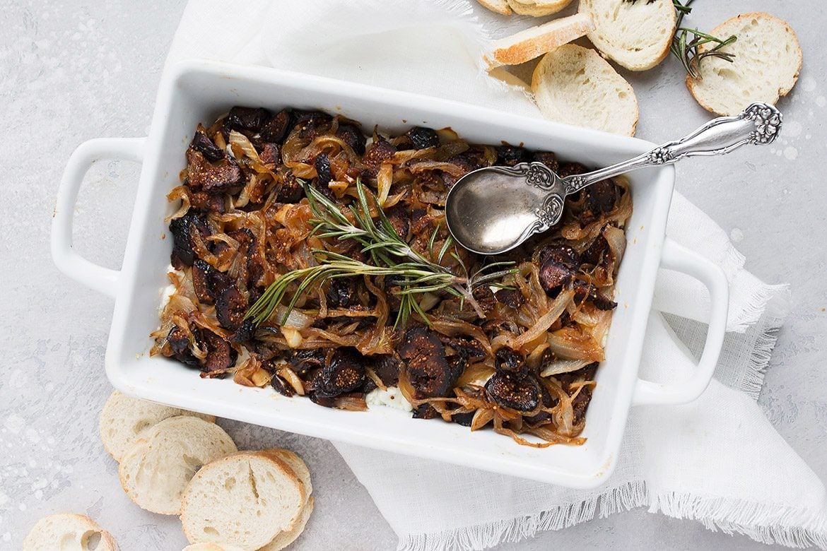 Warm Mission Fig and Caramelized Onion Goat Cheese Dip