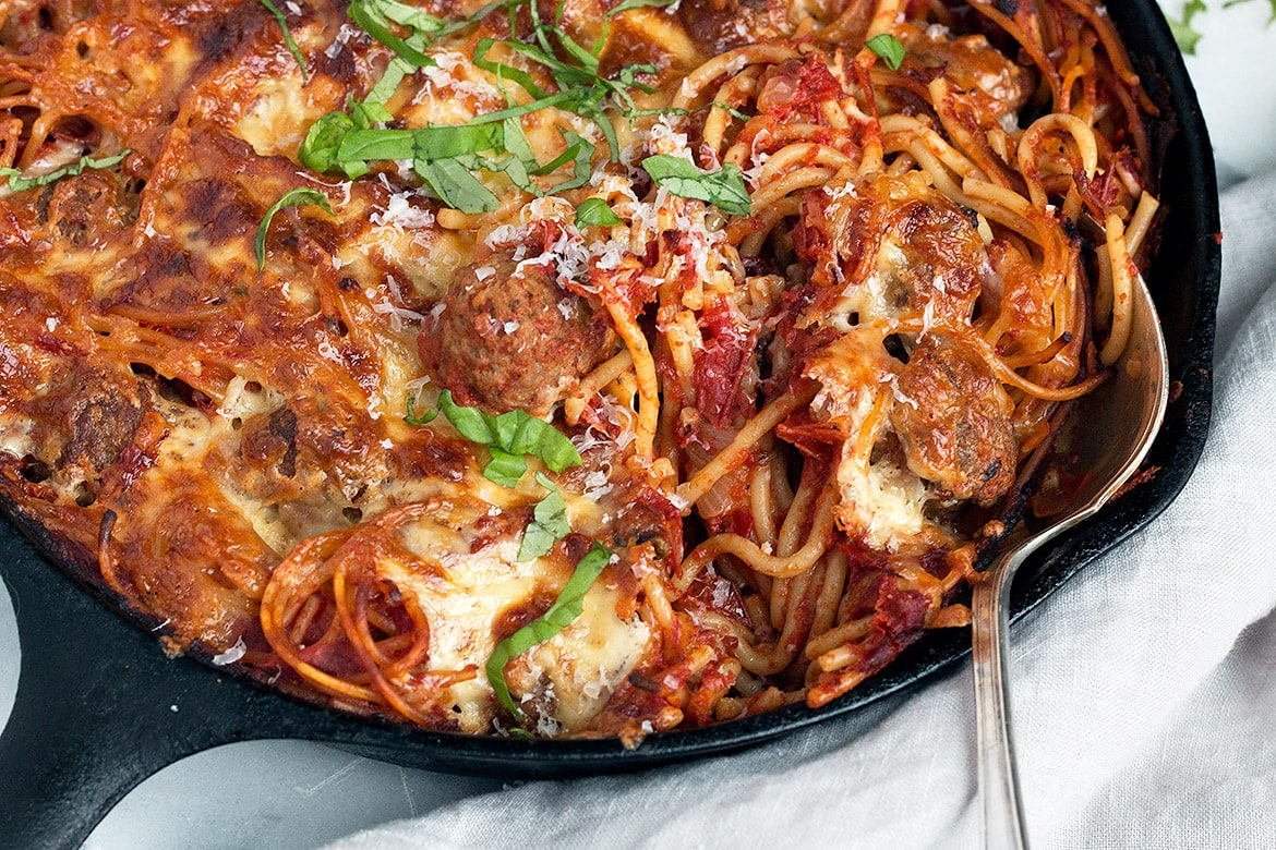 Spaghetti and Meatball Pasta Bake