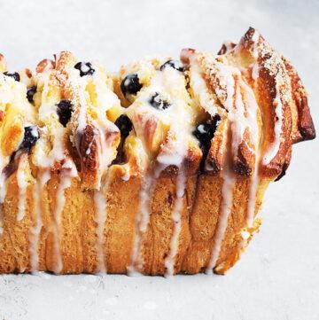 blueberry lemon pullapart bread from above