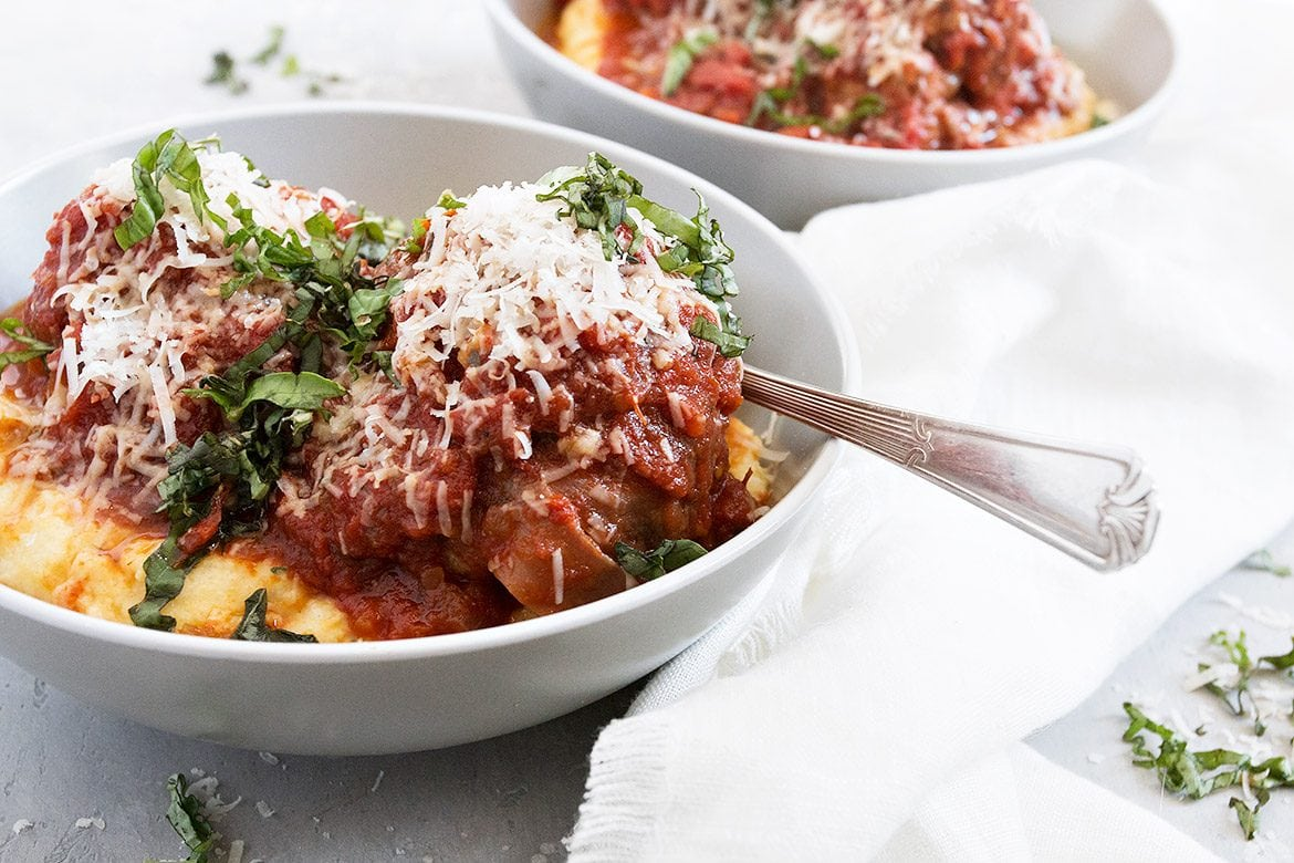 Pork Prosciutto Meatballs and Polenta