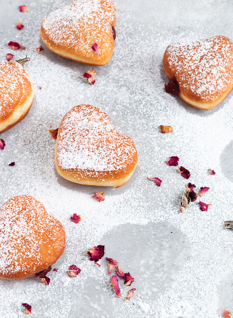 Heart-Shaped Jam-Filled Yeast Donuts