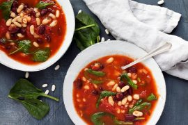 Two Bean Tomato Spinach Soup