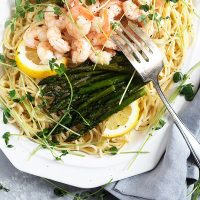 Lemon Pasta with Asparagus and Shrimp