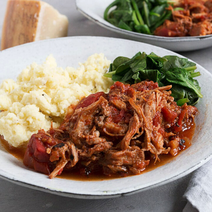 spicy braised pork with mashed potatoes in bowl