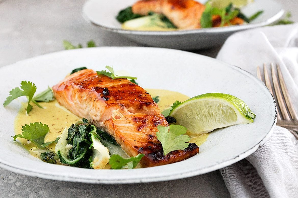 Sugar-Seared Salmon with Coconut Lime Sauce