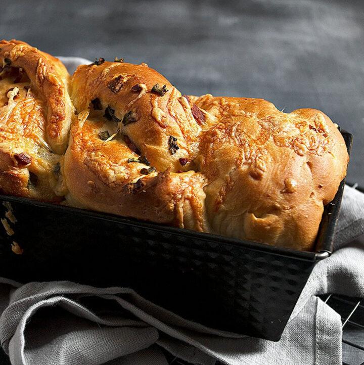 loaded baked potato yeast bread in pan