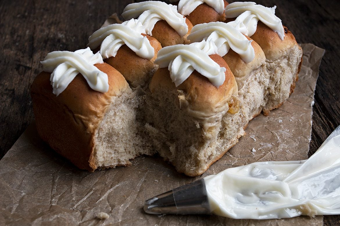 hot cross buns with an icing cross