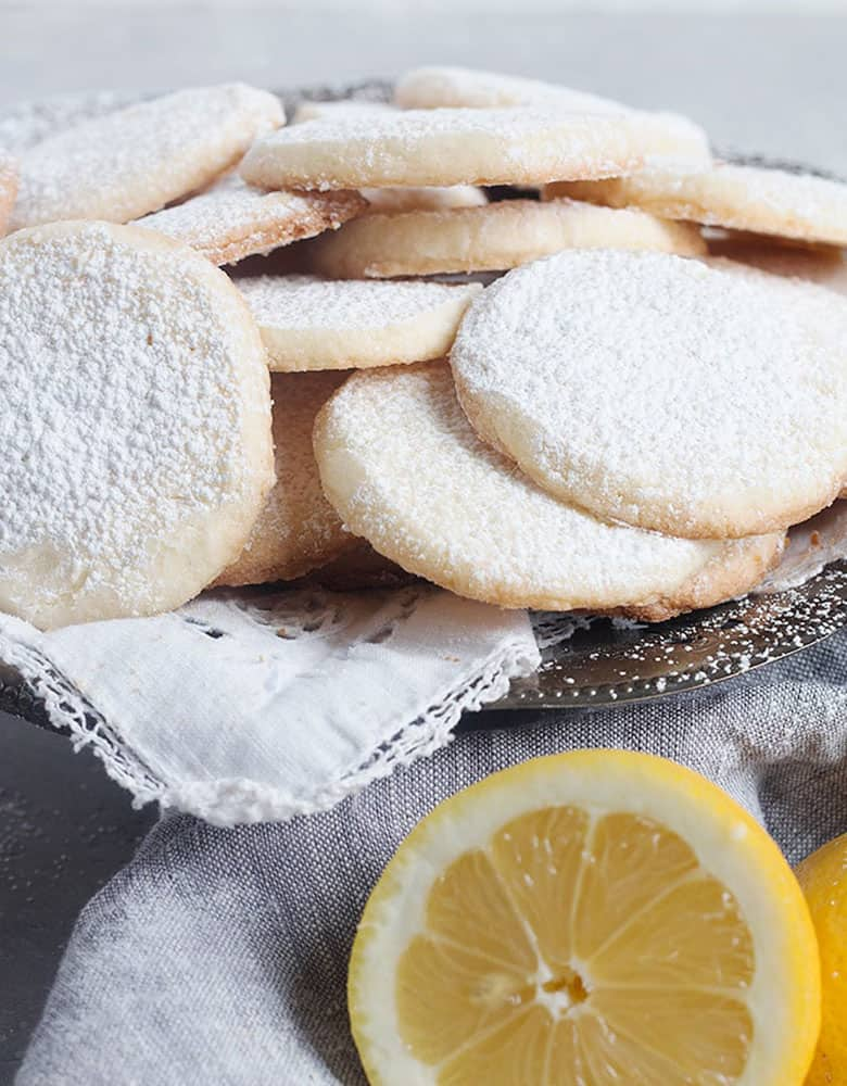 lemon meltaways stacked on tray