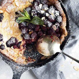 blackberry Dutch baby in cast iron skillet