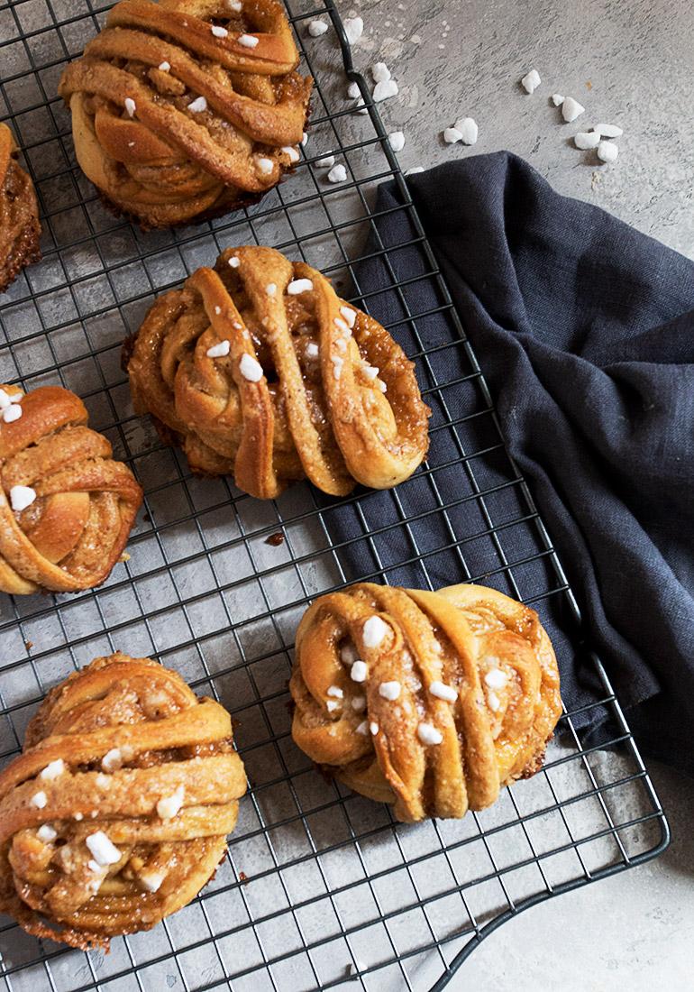 sticky maple walnut buns on cooling rack