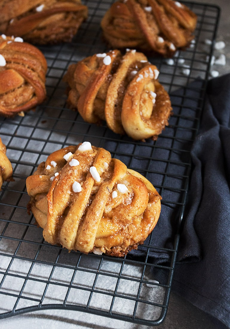 maple walnut rolls on cooling rack