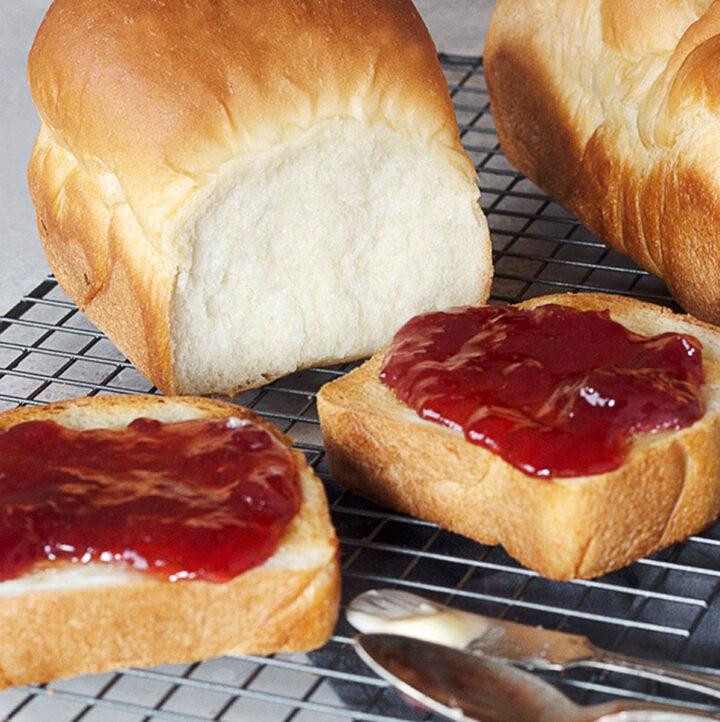 shokupan loaves with toast and jam