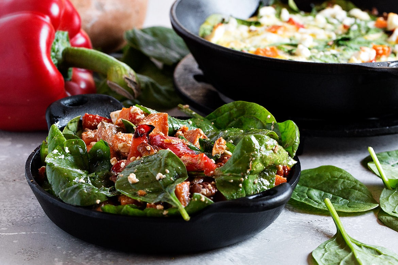 warm roasted vegetable salad and frittata