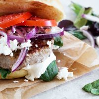 pork souvlaki burger on paper