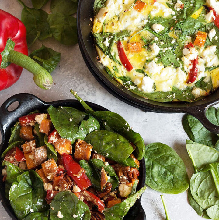 vegetable frittata and roasted in mini skillets