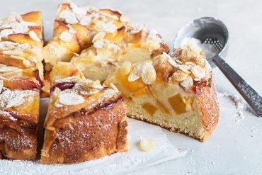 peach ricotta cake, sliced