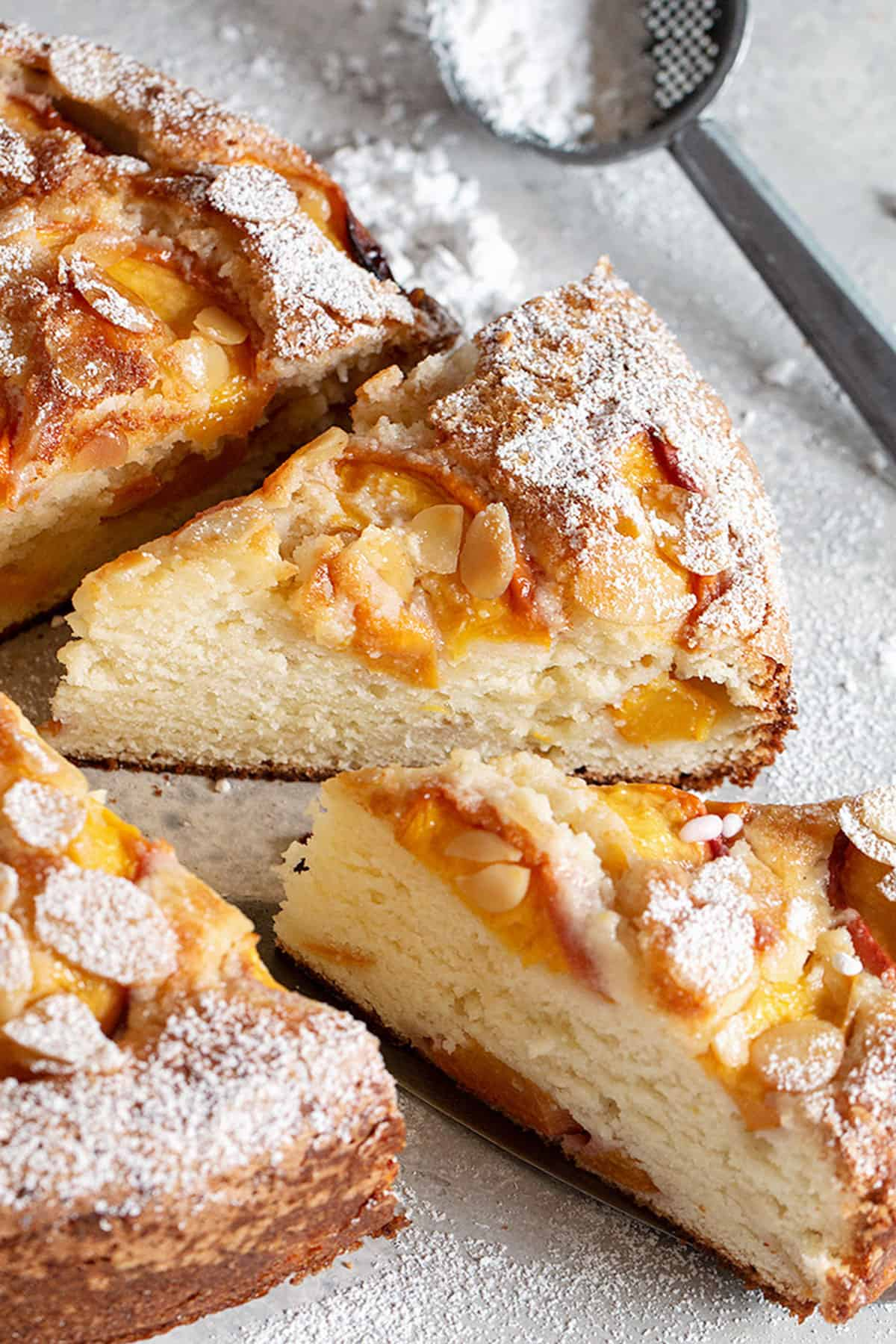 peach ricotta cake sliced