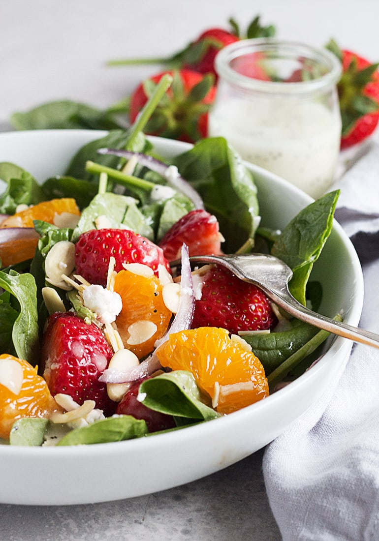 Strawberry Spinach Salad with Homemade Poppy Seed Dressing