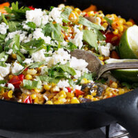 corn and bell pepper skillet with feta