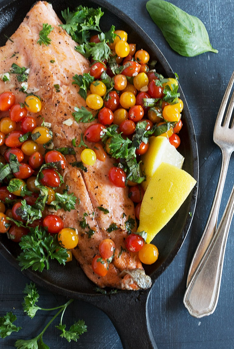 15-Minute Rainbow Trout with Tomberry Cherry Tomatoes