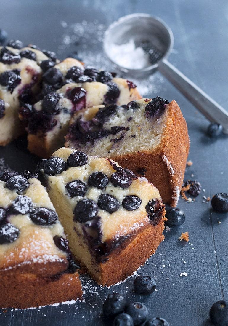 blueberry sour cream cake sliced
