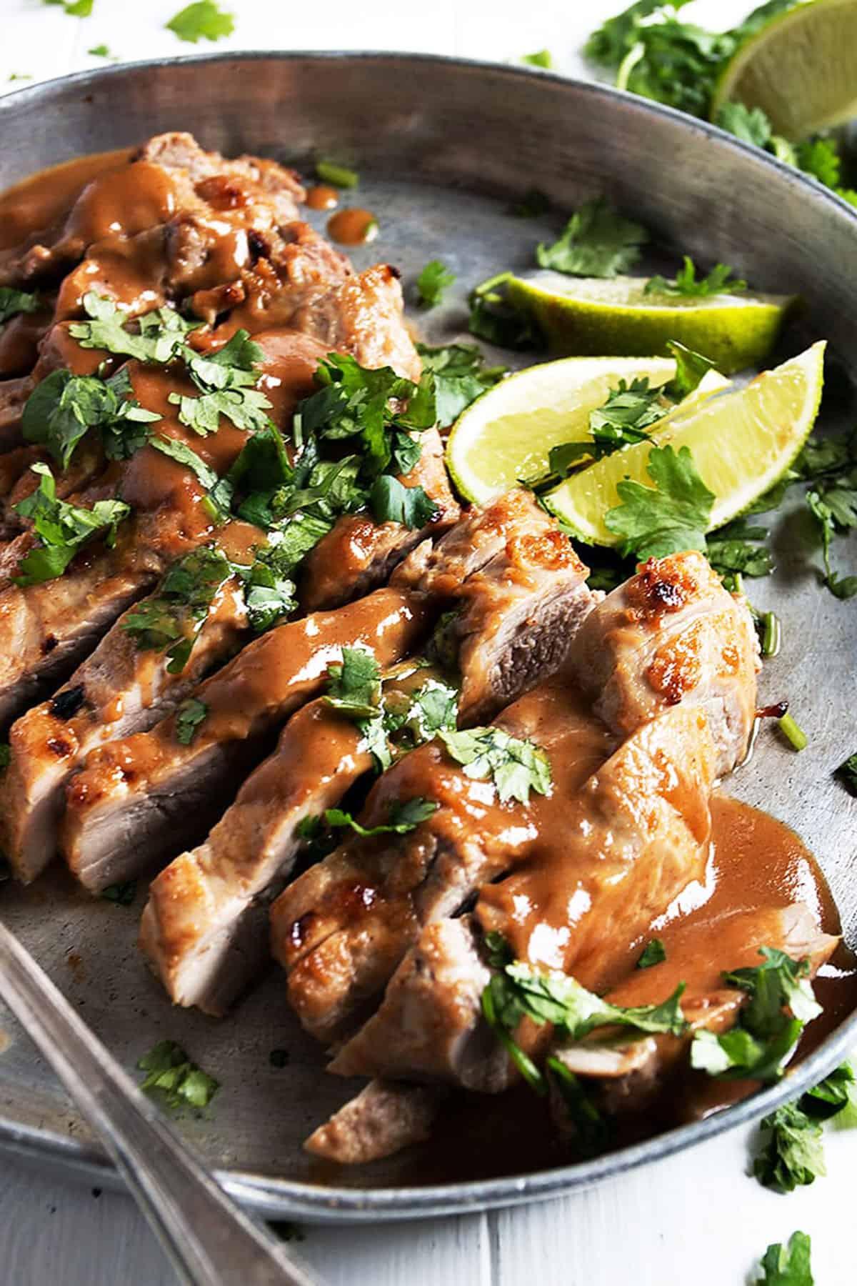 pork tenderloin sliced with peanut sauce