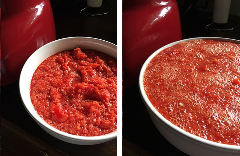 pureed red peppers then covered with boiling water
