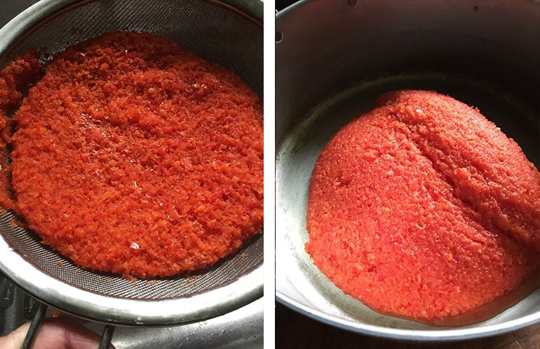 drained red pepper puree then placed into pan