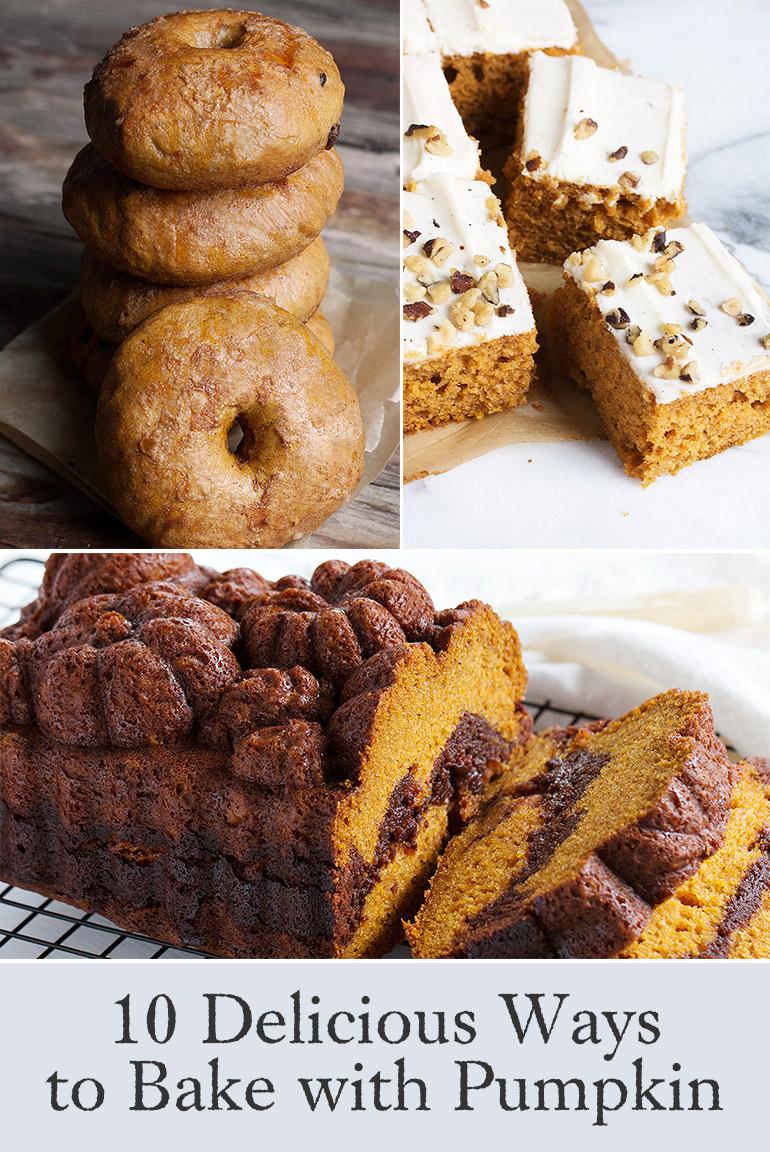 trio of pumpkin baking recipe photos