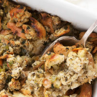 oven baked bread stuffing in casserole dish