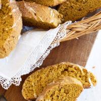 pumpkin spice biscotti in basket