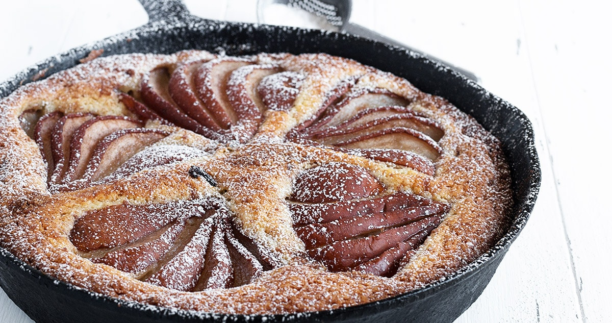 pear cake in cast iron skillet