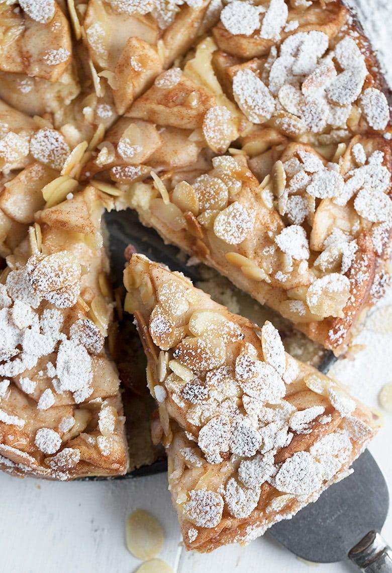 bavarian apple torte sliced