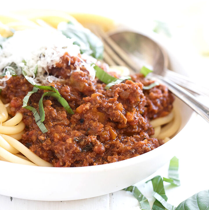 Italian meat sauce in bowl with pasta