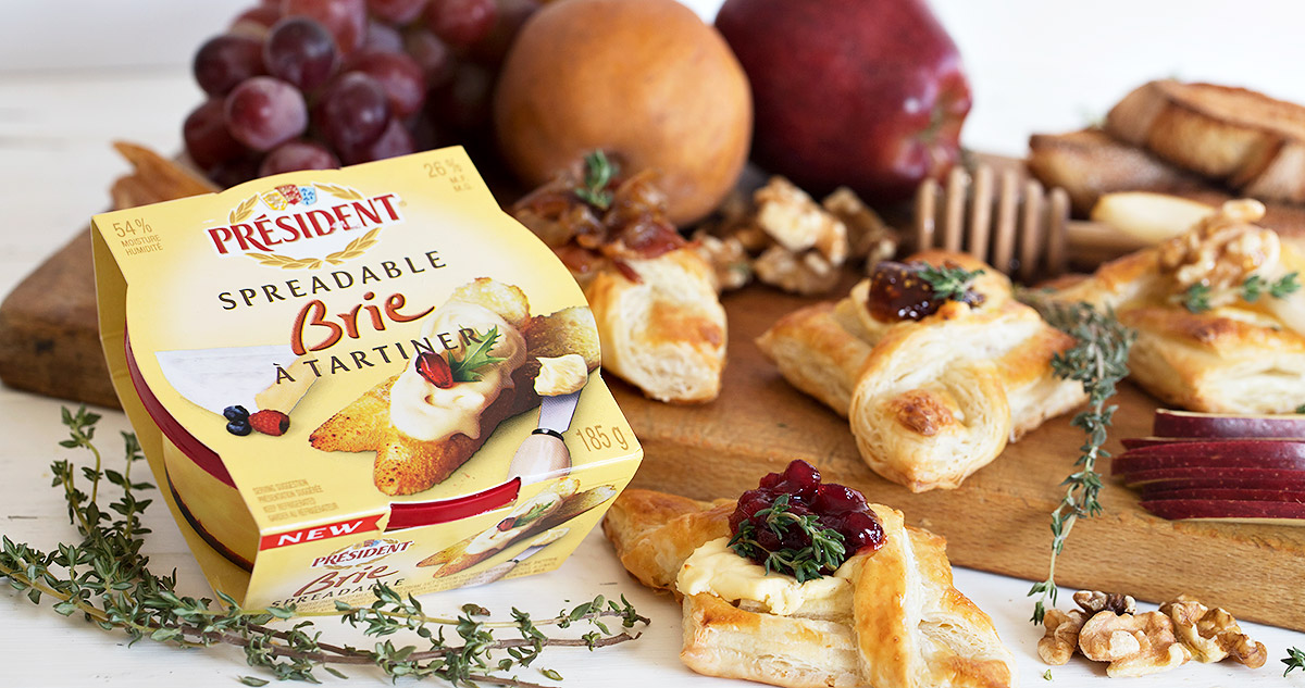 puff pastry appetizers with brie on cheese board