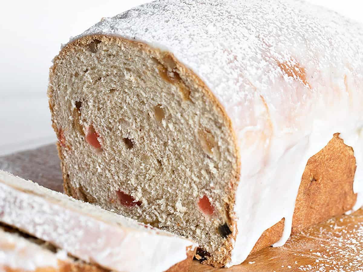 chop suey bread sliced on cooling rack