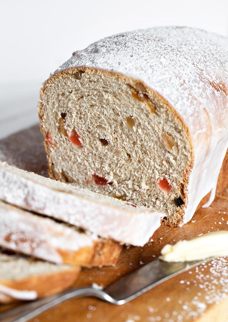 chop suey bread sliced on cutting board