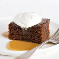 Classic Gingerbread Cake with whipped cream topping and caramel sauce