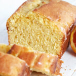 glazed orange pound cake loaf sliced