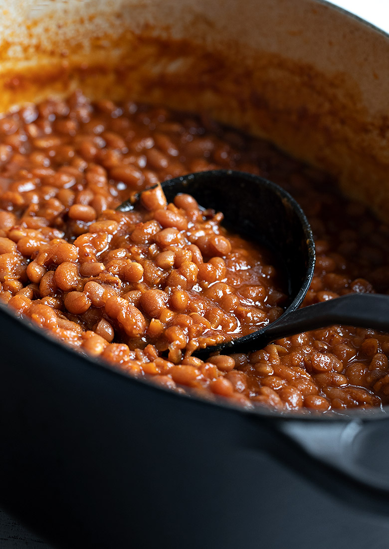 homemade baked beans in pot