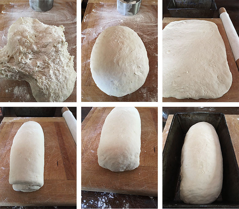 process shots for shaping the dough for buttermilk yeast bread