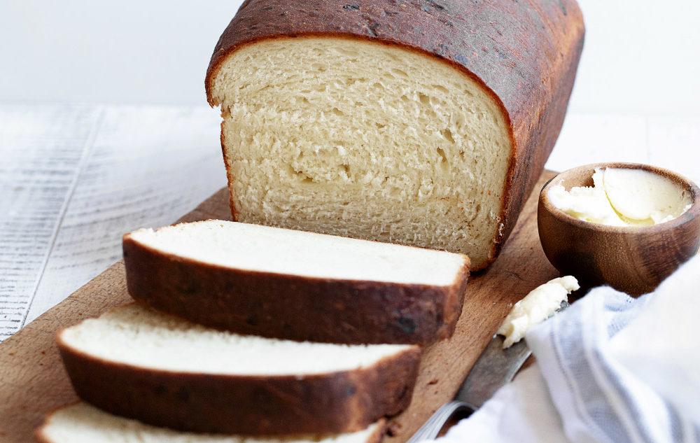 buttermilk yeast bread sliced on cutting board