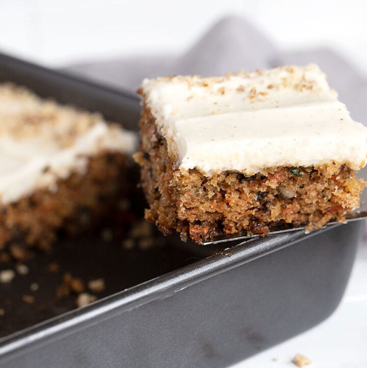 carrot sheet cake with cream cheese icing