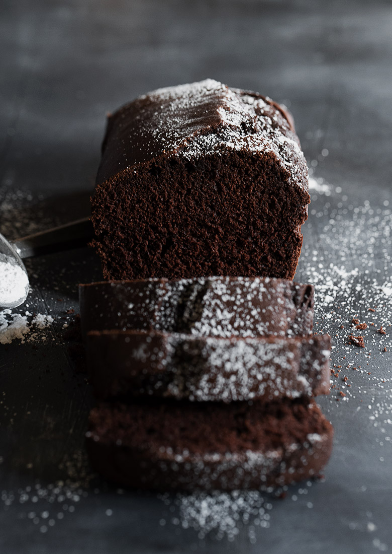 chocolate pound cake loaf sliced
