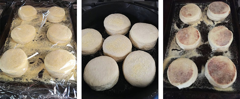 step by step photos of making english muffins