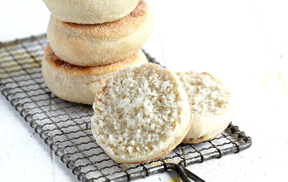 english muffins stacked with one split