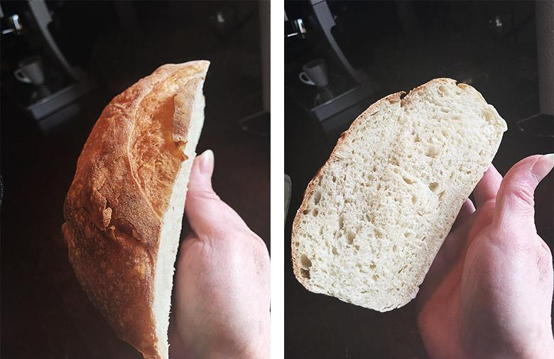 photo of first sourdough bread cut