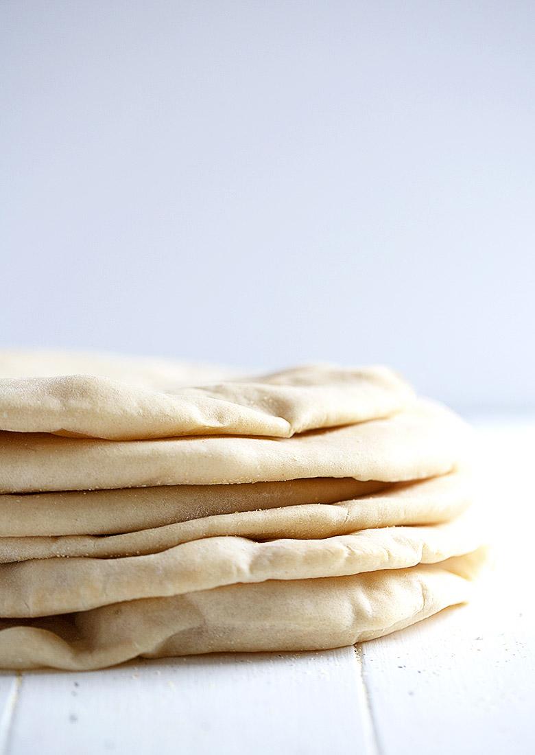 stack of homemade pita bread
